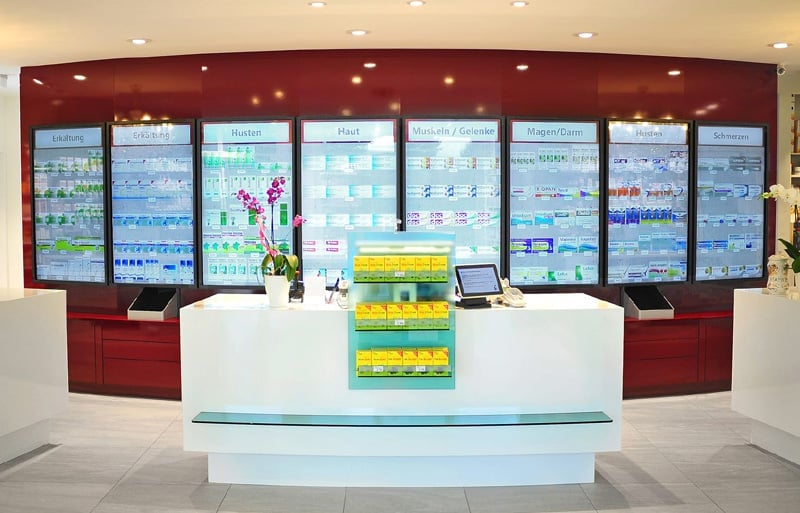 Interactive shelves in pharmacies