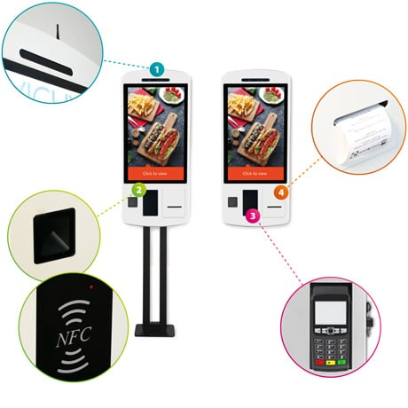 Self Order Touchscreen Kiosk: Face Recognition, Scanner, Printer, Payment