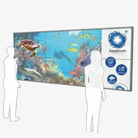 Mural interativo de vídeo com tela sensível ao toque