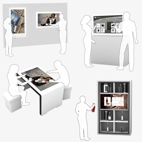 Interactive Multi Touch Displays, Tables & Shelves for Point of Sale, POS, Shops, Stores